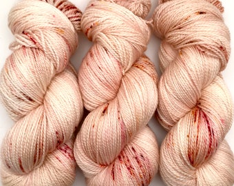 "Hand Dyed Yarn ""Sunspot Baby"" Blush Pink Orange Gold Brown Speckled Merino Fingering Superwash 408yds 115g"