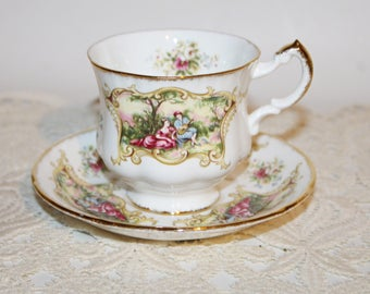 Vintage Paragon Bone China Teacup & Saucer Chippendale Pattern Victorian Love Scene