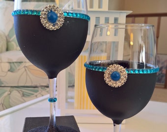 A Patch of Blue - Set of 2 Wine Glasses