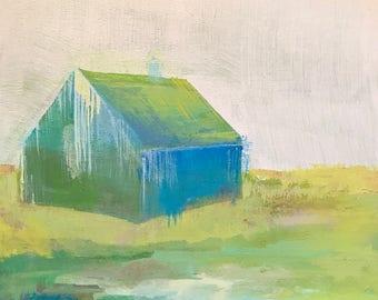 Blue Barn . Acrylic on Wood . 8 inches x 8 inches . Barn
