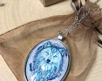 Wolf Necklace, Wolf Jewelry, Winter Wolf, Wolf Spirit Animal Guide Necklace