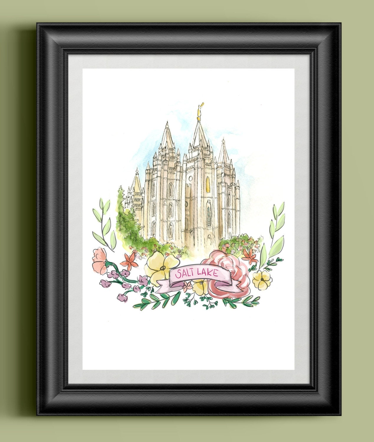 Salt Lake Watercolor Temple Digital Print Salt Lake City