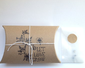 """Valentines Day Gift for the Gardner. """"Love in a Puff"""" Heart Seeds. Gift with Custom Message. Ready to Ship."""