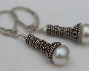 Pearl Bali Leverback Dangle Earrings Sterling Silver One-Of-A-Kind. Hand-Crafted Laura Brothers