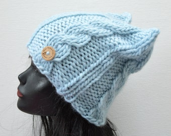 Hand Knit Cable Cat Beanie  - Light Blue Wool Cat Hat