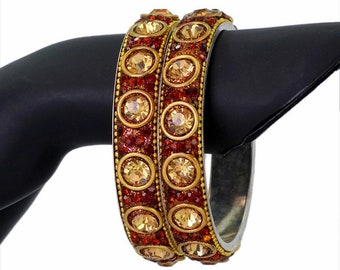 Ethnic kundan copper crystal Indian  bangles: FREE shipping in US