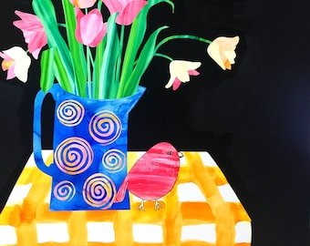 Still Life with Tulips and Red Bird