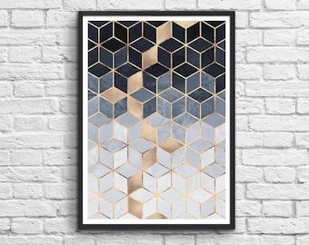 Art-Poster 50 x 70 cm - Graphic geometric cubes