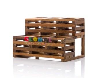 Dollhouse Miniatures 2-Level 6-Hole Wooden Garden Shelf