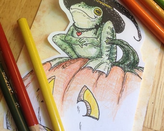 Frog Witch digistamp to color, print, for cards + more (line art by Kir Talmage)