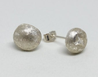 Matte silver nugget earrings / textured earrings / gift for her / bridesmaid gift