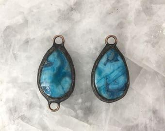 "Soldered Pendant Aqua Blue Teardrop Connector, Ocean Jasper, 1.25"" Blue, Handmade, Lead Free"