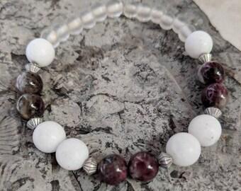 Rhodonite, white jasper and glass pain relieving bracelet