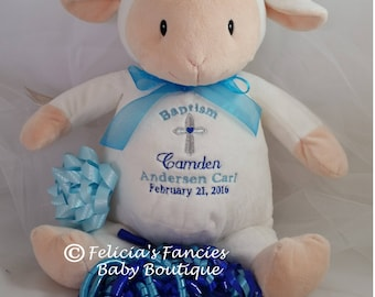 Personalized Baby Baptism Gift, Stuffed Animal, Lamb Christening Baptism Plush Stuffed Animal Personalized Baby Gift by Felicia's Fancies