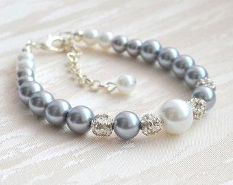 Pearl Bracelet Grey Bracelet Grey Bridesmaid Bracelet Grey White Bracelet Wedding Jewelry Bridesmaid Gift Grey Bridesmaid Jewelry