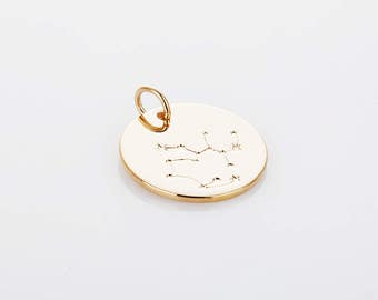 Sagittarius - Zodiac coin brass pendants , coin pendants, Jewelry making Polished Gold  -Plated- 1pcs [P0452-PG]