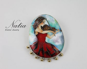 Woman with violin,Cloisonne enamel,Brooch-pendant,Handmade jewelry for women,Gifts for women,Gifts for mom,Sterling silver