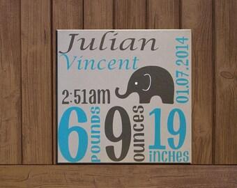 Custom Baby Birth Stats- Birth Announcement on Canvas with Elephant; Newborn Baby Canvas; Birth Stats Decor