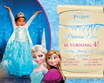 Disney congelado Elsa y Ana invitación - Elsa, Anna invita - Elsa y Ana congelados invitación de cumpleaños - 5 x 7, 4 x 6 - cumpleaños Elsa, Anna