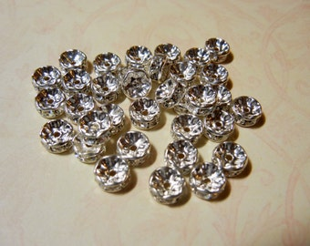 Silver Plated Rondelle Spacer Beads Swarovski Crystal Elements 7mm- set of 15
