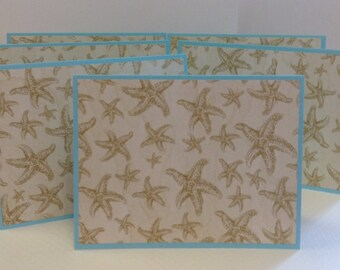 Starfish Notes, Beach Cards, Starfish Stationery, Aqua, Beige, 6 Cards and Envelopes