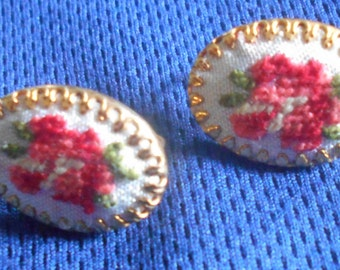 Vintage NEEDLEPOINT Clip On Earrings, pink, green, red