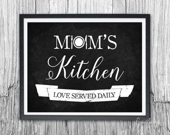 Mom's Kitchen chalkboard printable gift for Mom Kitchen decor Mothers Day sign kitchen sign kitchen art Mothers Day gift Mother gift