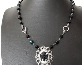 Final Sale Black skull necklace