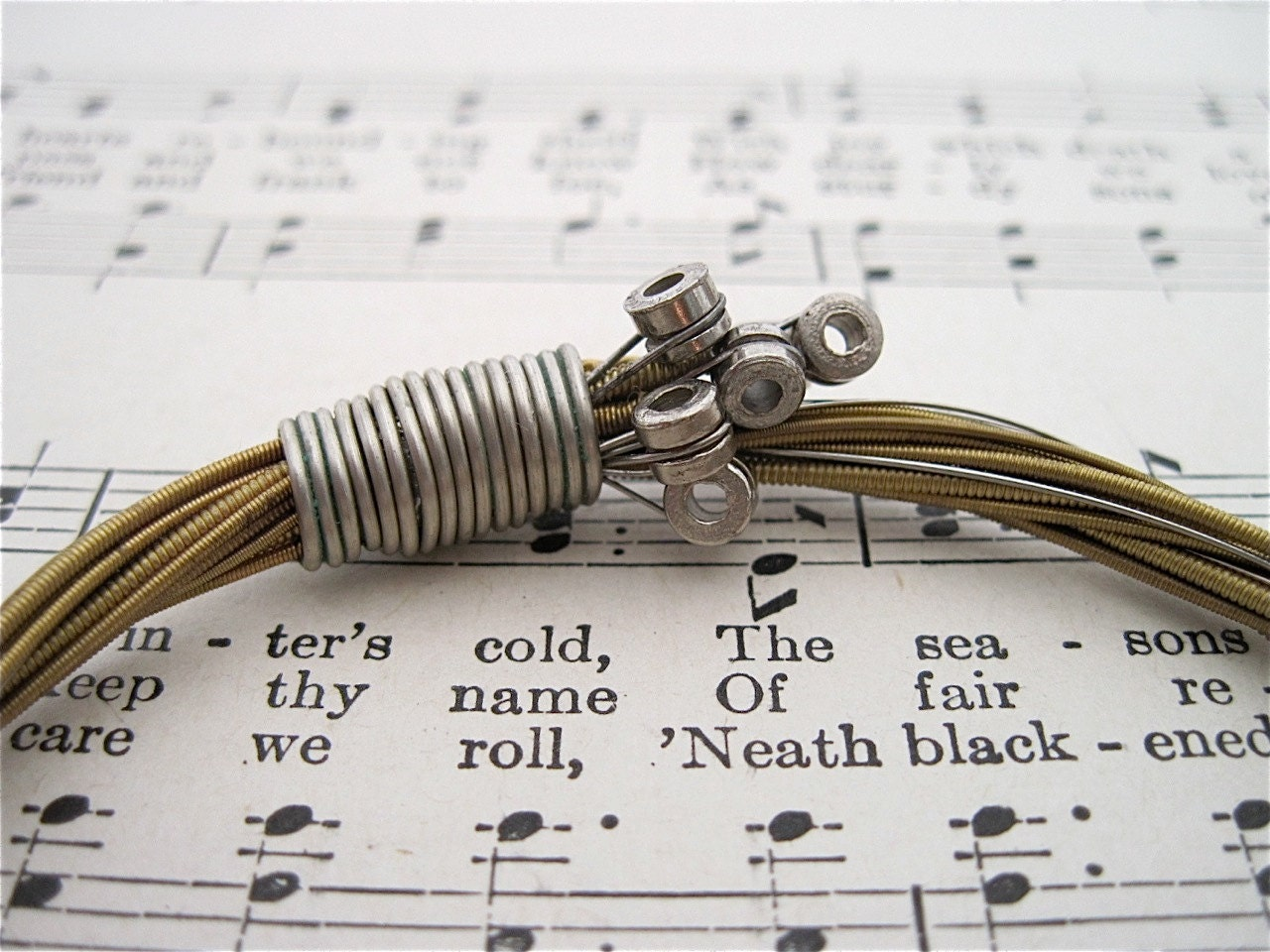 recycled acoustic guitar string bracelet with nickel ball ends. Black Bedroom Furniture Sets. Home Design Ideas