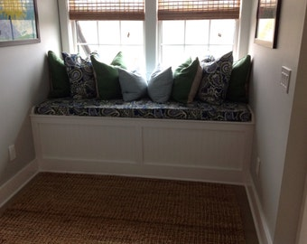 "Custom Window Seat Cushion Cover with Piping/Zipper - choose your own fabric and size - 79"" x 30"" x 3"""