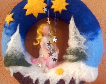 Wreath, fairytale wreath, star Taler, Christmas wreath, wreath for children's room