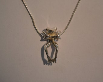 Silver Tree Frog Necklace, Sterling Silver Swinging Tree Frog, Handmade & Hallmarked,