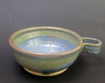 Stoneware Shaving Bowl, Floating Blue and Cascade Tan
