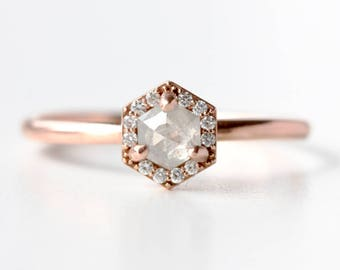 Rose Cut Hexagon Diamond Ring in Recycled 14k Rose Gold and Diamond Halo Diamond Engagement Ring - Alternative Bride - Conflict Free