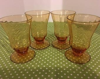 Set Of Four 4 oz Fostoria Amber Pedestal Juice Glasses