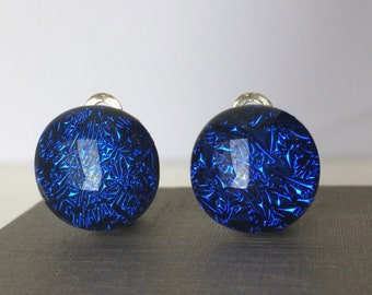 Sapphire Blue Clip on Round Dichroic Fused Glass Earrings
