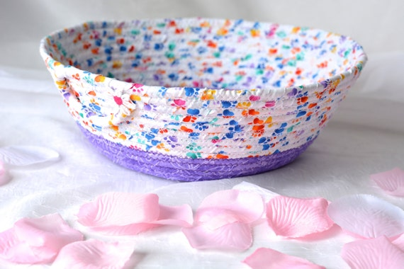 Lavender Napkin Basket, Hand Coiled Basket, Artisan Fabric Bowl, Spring Home Decor, Mail Bin Organizer, Key Holder Bowl