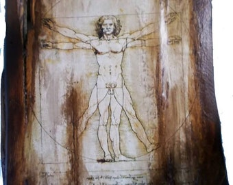 Decoupage on wood with vitruvian man,vitruvian man on wood,da vinci vitruvian man,wooden vitruvian man,da vinci icon
