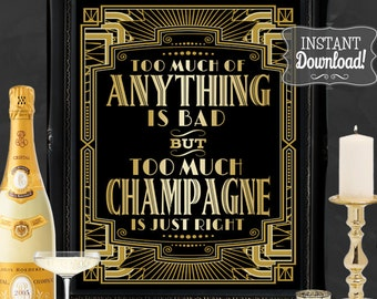 Gatsby Party Poster - INSTANT DOWNLOAD - Printable Drink Champagne Bar Wedding & Birthday Party Art Deco 1920s Sign - 3 sizes included