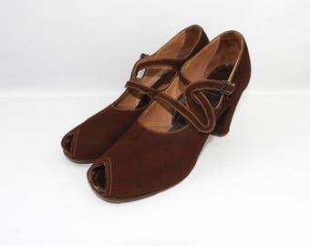 1940's American Brown Suede Peep Toe Shoes - UK 5 US 7