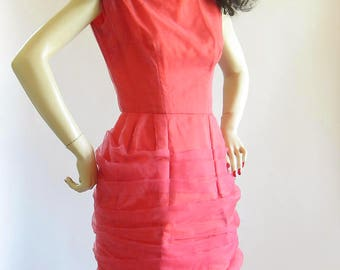 Vintage 50s Coral Chiffon ruched Wiggle Dress s xs pellon lined skirt