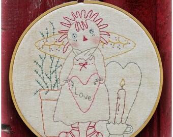 LOVE raggedy ann embroidery Pattern pdf prim- stitchery doll vintage like heart fabric sew craft valentine primitive