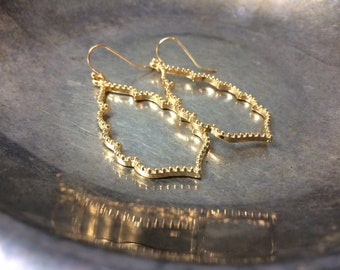 Gold Filigree Earrings Antique Style Filigree Earrings Large Filigree Earrings Bohemian Earrings Filigree Earrings