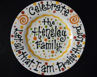 "12"" Ceramic Personalized Family Celebration Plate with Bible verse"