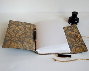 Winter Wedding Journal, Wedding Planner, Winter notebook, green journal, pine cone, winter gift, Blank book, handmade Journal Scrapbook