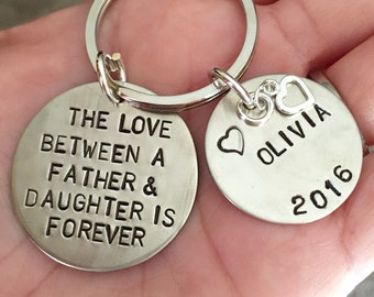 The Love Between A Father And Daughter Is Forever, Valentine Gift, Personalized Keychains, Hand Stamped Keychain, natashaaloha