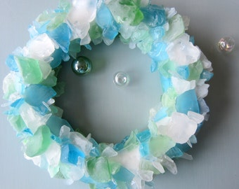 Sea Glass Wall Art, Beach Decor Sea Glass Wreath, Nautical Wall Decor Beach Glass Wreath, Coastal Decor Seaglass Wreath, #SGW100