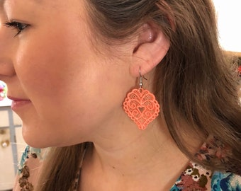 Lovely lace earrings heart earrings embroidered