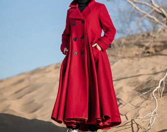 Red coat full length wool jacket warm cozy coat pleated dress coat woo caot plus size winter coat gift for her