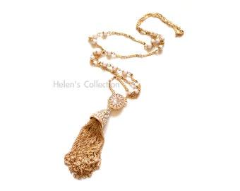 Tassel Necklace Gold link Long Tassel Necklace Statement Necklace Rhinestone Tassel Necklace